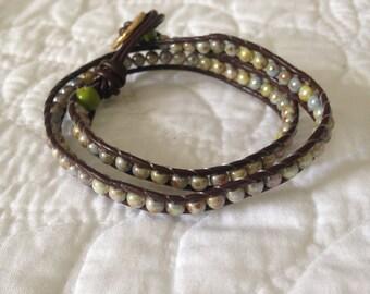 Green/Blue Czech Glass Wrap Bracelet