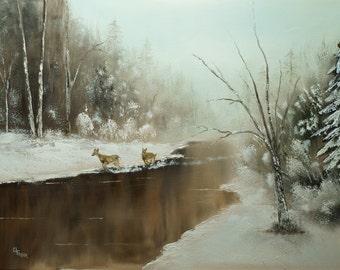 Winter Deer Run - Art Print by Chris Fraser, Wall Decor, Sofa Art,Artwork,Picture,Sofa Painting,Artwork,Original,Family Room,Living Room