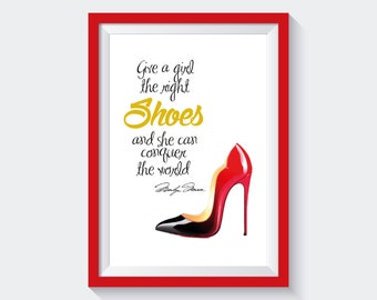 Christian Louboutin shoes,  Digital fashion illustration, DIY, inspirational poster, motivational quote, gift card
