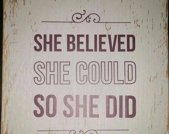 Inspirational sign on wood