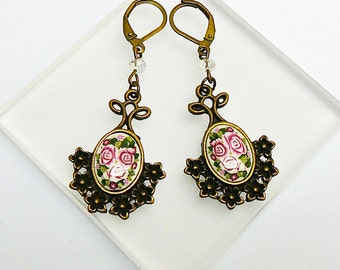 Earrings retro charms three roses in polymer clay
