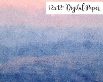 Digital Paper, Watercolor, Nature, Sky, Clouds, Sunrise, Sunset, 12x12, Watercolor Digital Background, Commercial Use ok