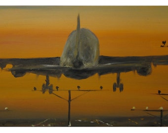 "Original oil painting- ""Plane""  oil painting. original painting"