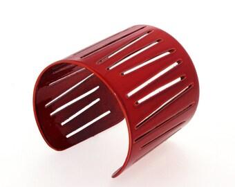 FORMULA1 Metal Cuff Bracelet, Red Cuff Bracelet for Women, Wide Cuff Bracelet, Red Bracelet, One-Of-A-Kind Cuff, Art Jewelry