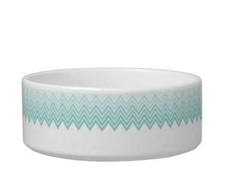 Custom Pet Bowl - Personalized Dog Bowl, Monogrammed Feeding Bowl, Pet Water Bowl, Custom Pet Decor, Teal Chevron