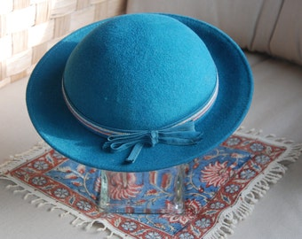 1960s Blue Madeline Felt Wool Hat by Geo W. Bollman & Co Inc