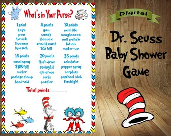 Dr. Seuss Baby Shower Game, Dr. Seuss Shower Games, Dr. Seuss Game, Dr. Seuss Baby Shower Favor, Dr. Seuss What's In Your Purse