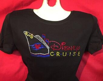 Disney Mickey Mouse Cruise Line Word Rhinestone crystal womens shirt SHORT LONG Sleeve Misses S, M, L, XL, Plus size 1X, 2X, 3X Shirts
