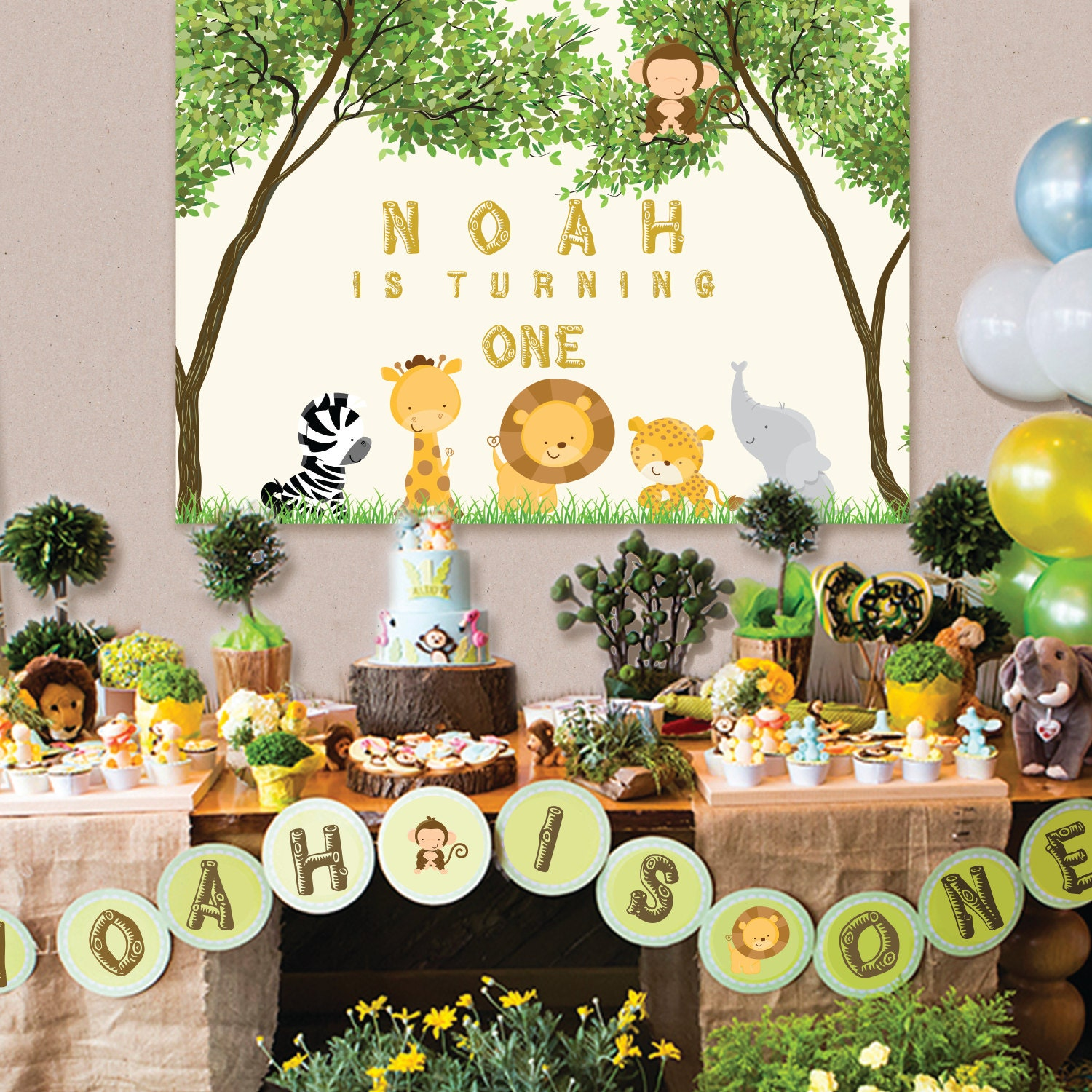 Safari Jungle Animals Baby Shower 1st Birthday Printable