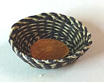 OOAK hand-woven charcoal and ivory basket