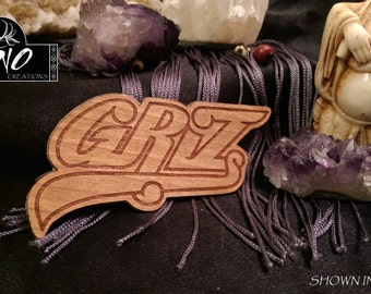 Laser Engraved Griz Wooden Sticker