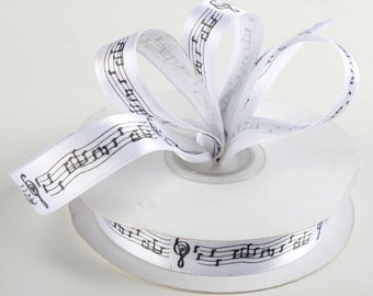 Music Notes Satin Ribbon