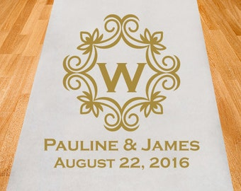 Emblem Monogram Wedding AIsle Runner - Personalized Wedding Aisle Runner (PPD1-E)
