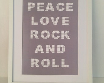 Peace Love Rock And Roll Print