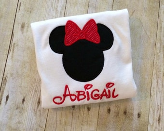 Custom Minnie/mickey mouse embroidered shirt with name