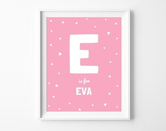 Baby Girl Nursery Printable Name Art, Personalized Name, Pink Nursery Wall Art Decor, Kids Digital Art, Digital Download *DIY PRINT*
