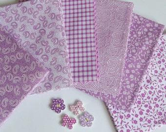 Dusty Pink Fabric Bundle of 6 Cotton Fat Quarters