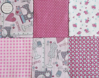 Just Sew Bundle of 6 Fat Quarters - 100% Cotton