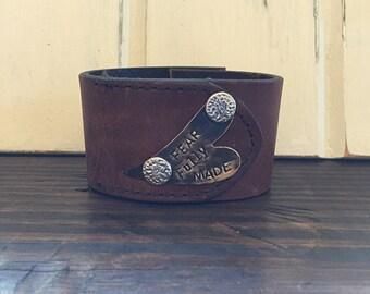 Handstamped leather cuff bracelet