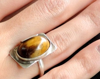 Tiger eye, Silver ring, unique shape, women - girls jewelry, gift, earth jewelry series, FREE Shipping