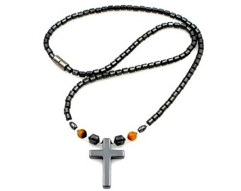 Tiger Eye Cross Necklace, Hematite Magnetic Necklace , Magnetic Hematite Necklace with Cross Pendant #MHN-111TE