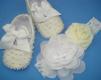 Christening headbands Christening shoes White flower roses headbands baby Baptism set Gift newborn girl Headbands baby Personalization shoes