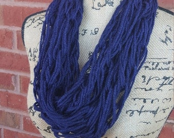 Arm Knitted Infinity Scarf/ Knit Scarf/ Infinity Scarf/Loop Scarf/Super Soft/Handmade Knit Scarf/ Acrylic Yarn / Navy Blue