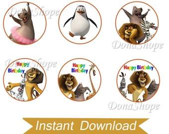Madagascar Cupcake Toppers ,Madagascar Birthday Circles, Instant Download, Digital File