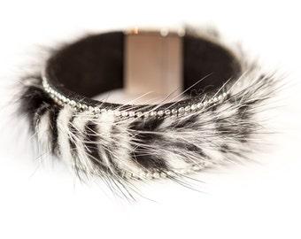 Zebra Leather Diamante Cuffs