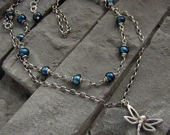 Sterling silver, pearls - double necklace/oxidized silver, dragonfly