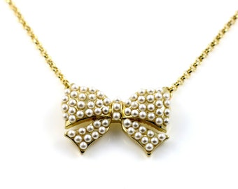 Cute Vintage Faux Pearl Bow Necklace