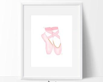 Pink Ballet Shoes Wall Art, Pink and Gold Ballet Shoes, Ballerina Wall Art, Pink Ballerina Nursery Art, Ballerina Art, PRINTABLE ART