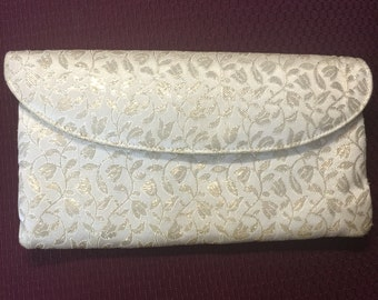 Vintage White and Gold Clutch, 1950's White and Gold Evening Purse