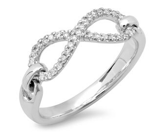 White Gold Infinity Ring, Diamond Infinity Ring, Yellow Gold, Rose Gold, White Gold