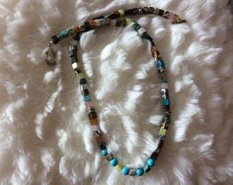 Genuine multi-gem, including turquoise bead necklace