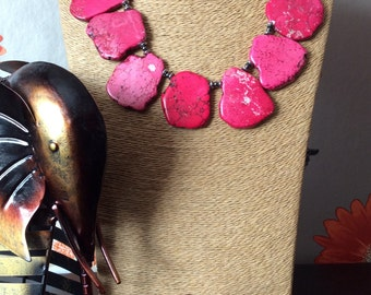Dyed pink turquoise slab and hematite statement necklace