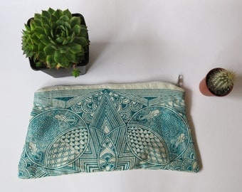 Silk Zipper Pouch. Screen Printed Zipper Pouch. Made in England. By Kulu