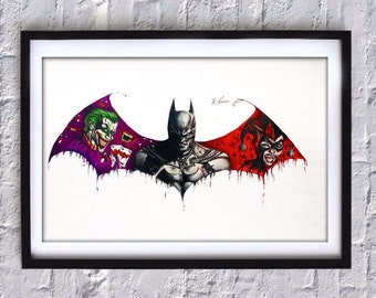 Original Batman/Joker/Harley Quinn Drawing