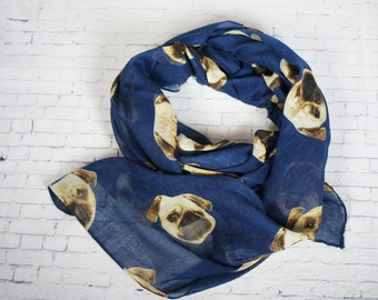 DOG scarf, Blue Navy scarf with littles dog printed scarf, fall scarf, Animal printed scarf, woman scarf, loop scarf, infinity scarf