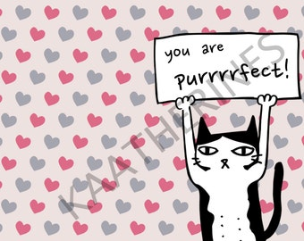 Purrrfect! Valentine/I Love You Card