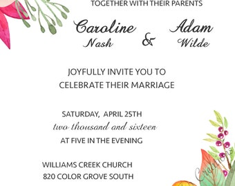 spring flowers wedding invitation 5x7