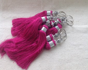 Moroccan key ring silk tassel