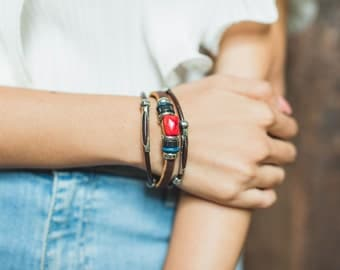 Leather Cuff Bracelet With Red Jasper, Leather And Beads Bracelet,Brown Leather Wrist Wrap, Wrist Bangle LO3