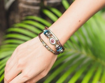Leather Brown Evil Eye Bracelet-  Vintage Beads  leather Bracelet- Unisex Bracelet - Lucky Charm Bracelet-LB40