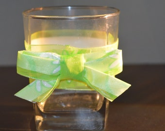 Glass Candle Holder, wrapped in ribbon and a bow