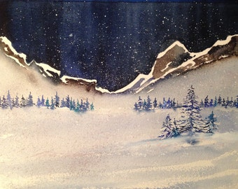 Oh Holy Night - Watercolor Card