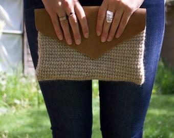 Crochet Leather Envelope Clutch
