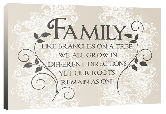Family Like Branches On A Tree Quote Words Canvas Wall Art