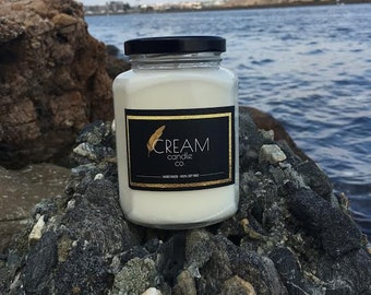 Caribbean Teakwood Soy Candle 12 oz jar by Cream Candle Co.