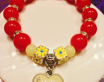 Stretchy beaded Christian bracelet
